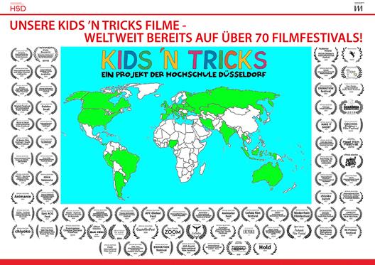 map of countries in which KIDS 'N TRICKS participated in film festivals