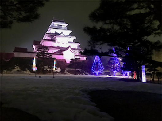 Tsuruga Castle with Illumination in Aizu-Wakamatsu, Japan